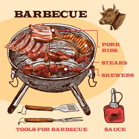 pork ribs: Meat bbq set sketch infographic with pork ribs and steaks vector illustration
