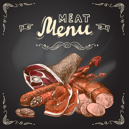 Meat food chalkboard set with pork fillet chop steak and sausage vector illustration Ilustracja
