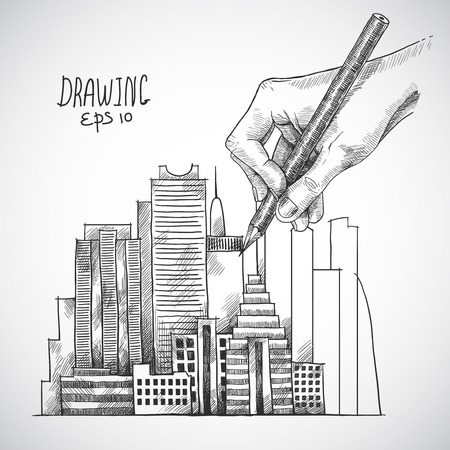 Hand drawing building with graphite pencil sketch isolated on white background vector illustration Vector