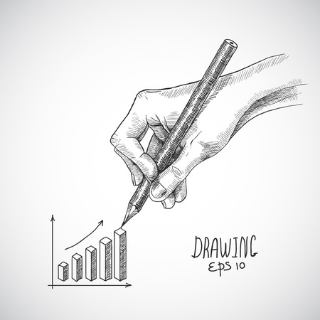 graphite: Hand drawing business graph with graphite pencil sketch isolated on white background vector illustration Illustration