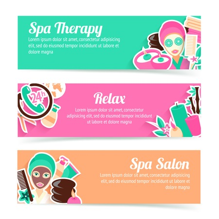 beauty care: Spa salon therapy relax natural products beauty care horizontal banner set isolated vector illustration Illustration