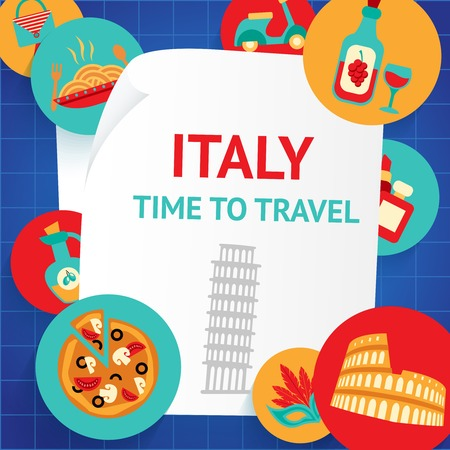 Italy rome landmarks time to travel background template vector illustration Vector