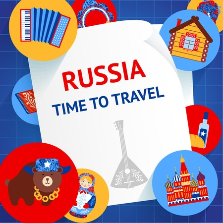 Russia culture elements time to travel background template vector illustration Vector