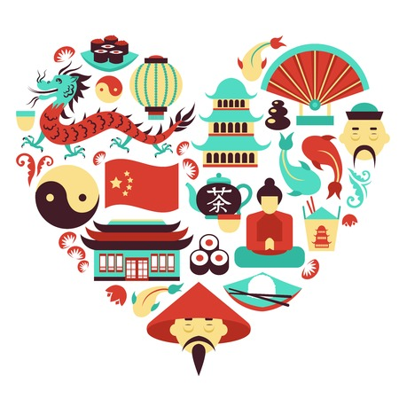 China travel asian traditional culture symbols in heart shape vector illustration