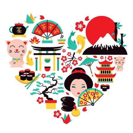 Japan symbolen in hartvorm met traditionele gerechten en reizen iconen vector illustratie Stock Illustratie