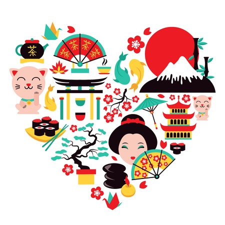 samurai: Japan symbols set in heart shape with traditional food and travel icons vector illustration
