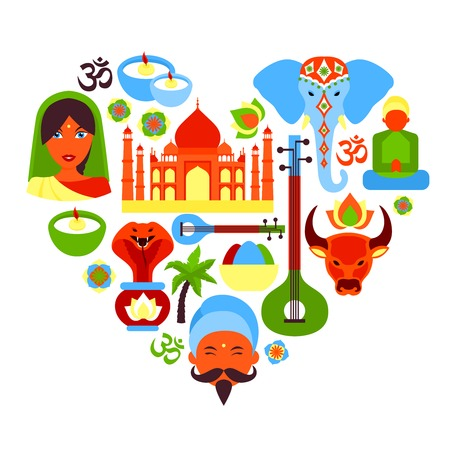 India travel culture religion symbols in heart shape vector illustration