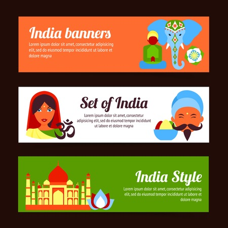 India style travel culture religion yoga symbols horizontal banners set isolated vector illustration Vector