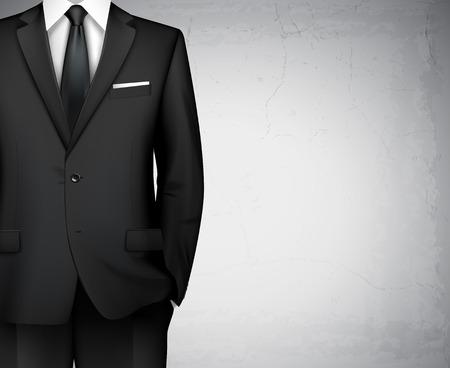 モダンなスタイル ビジネス男古典的なオフィス スーツ シャツと背景の黒し、ベクトル図を結ぶ