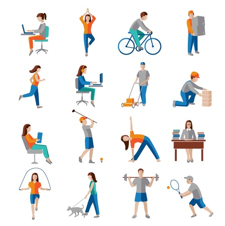 working: Physical activity healthy lifestyle icons set isolated vector illustration. Illustration