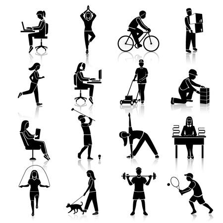 actividad: Iconos negros de actividad física establecen con las personas en bicicleta leyendo entrenamiento aislado ilustración vectorial