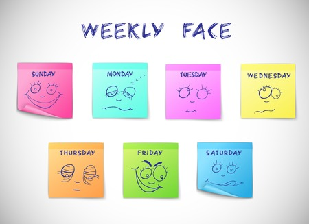 sticky notes: Weekly calendar colored peeling stickers with faces characters isolated vector illustration