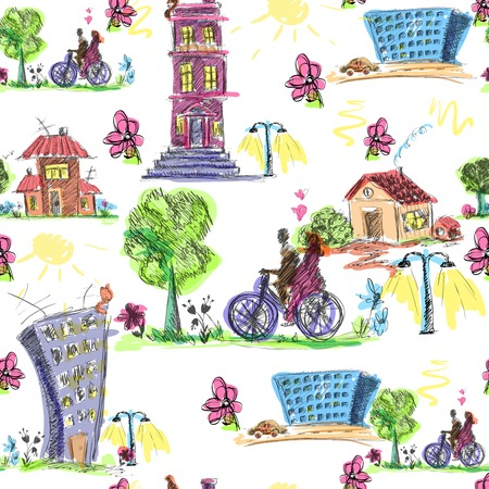 Doodle city sketch seamless pattern with buildings and bicyclists vector illustration Vector