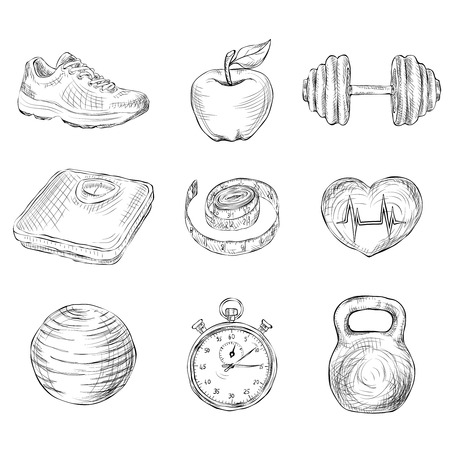 apple computer: Fitness bodybuilding diet and healthcare sketch icons set isolated vector illustration Illustration