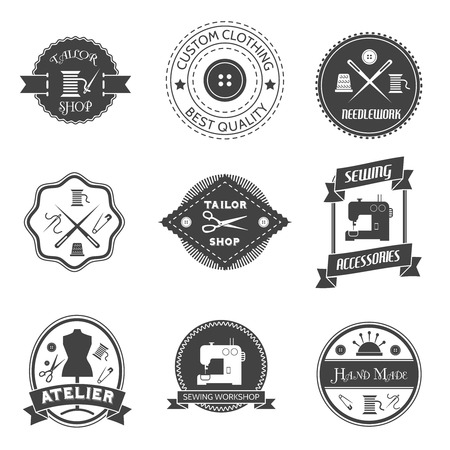 tailor shop: Sewing equipment atelier tailor shop label set isolated vector illustration
