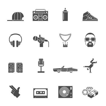 Rap hip hop music black icons set isolated vector illustration Stock Illustratie