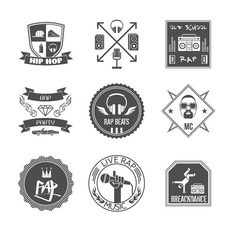 Rap music hip hop party beats label set isolated vector illustration Illustration