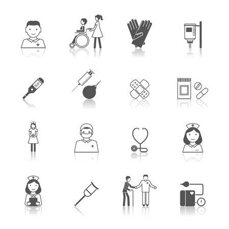 doctors and patient: Nurse health care medical hospital icons set isolated vector illustration Illustration