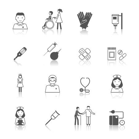 Verpleegkundige zorg medische ziekenhuis pictogrammen instellen geïsoleerde vector illustratie