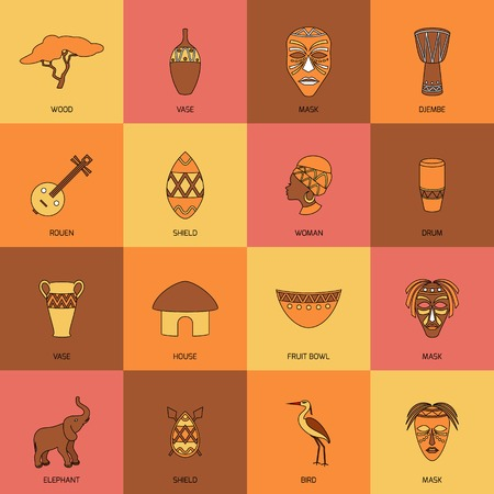 Africa ethnic tribe culture travel icons line flat isolated vector illustration 矢量图像
