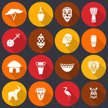 african business: Africa jungle ethnic tribe icons set flat with house shields masks isolated vector illustration Illustration