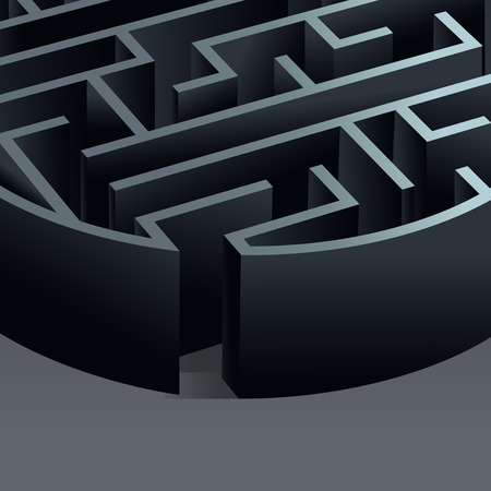 Maze 3d circle labyrinth entrance view background vector illustration. Vector