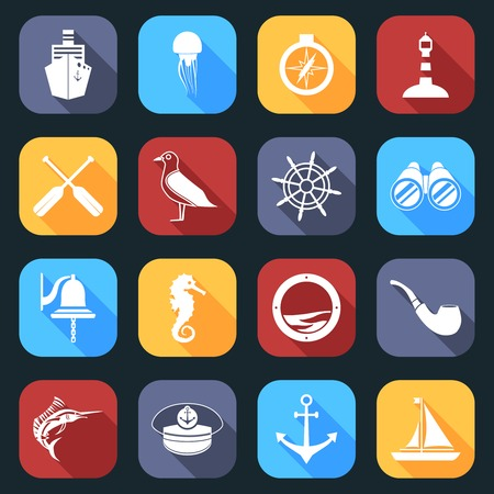 Nautical sea travel flat icons set with paddles seagull helm isolated vector illustration. Vector