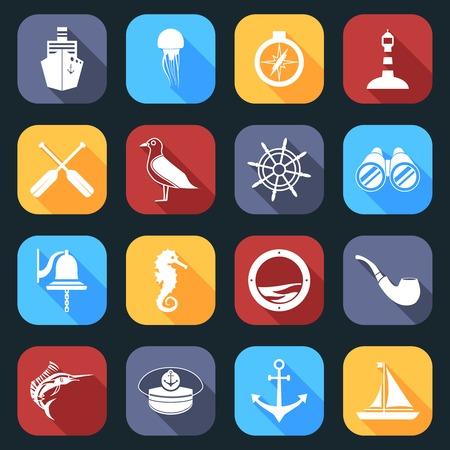 paddle wheel: Nautical sea travel flat icons set with paddles seagull helm isolated vector illustration. Illustration