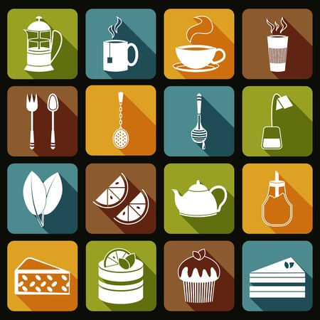 Tea icons flat set with leaf desserts spoon isolated vector illustration Vector