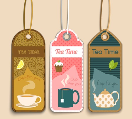 Tea time labels set with cup sugar cake isolated vector illustration Vector