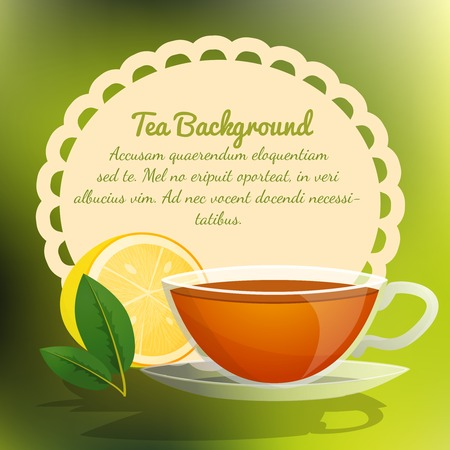 Tea cup with lemon and green leaf background vector illustration Vector