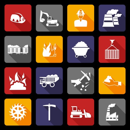 Coal machinery factory mining industry warehouse flat icons set isolated vector illustration Vector
