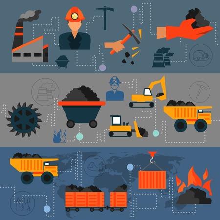 camion minero: Industria del carb�n de la l�nea de transporte de la f�brica banderas conjunto aislado ilustraci�n vectorial.