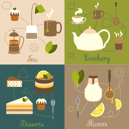 cup cakes: Tea crockery desserts flavors flat set isolated vector illustration