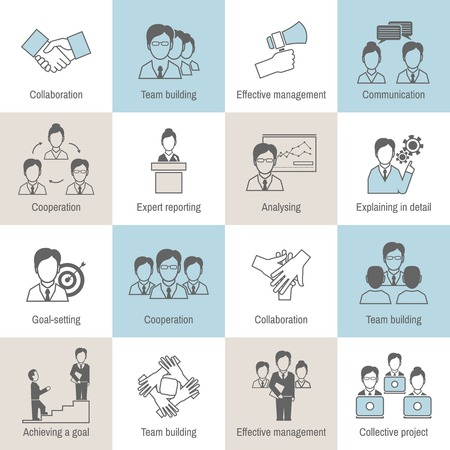 job icon: Teamwork business collaboration effective management flat line icons set isolated vector illustration