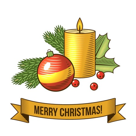 Christmas new year holiday decoration candle and ball icon with ribbon vector illustration Stock fotó - 31729416