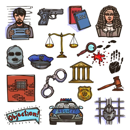 Law justice police and legislation icon color sketch set isolated vector illustration Vector