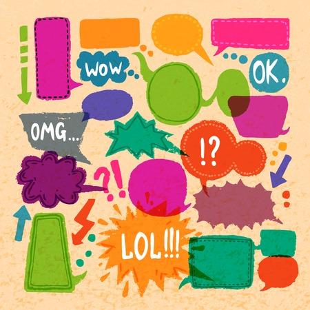box set: Comic blank text speech bubbles icons set on paper background vector illustration Illustration