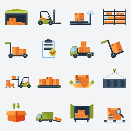 Het transport en de levering magazijn pictogrammen platte set geïsoleerd vector illustratie