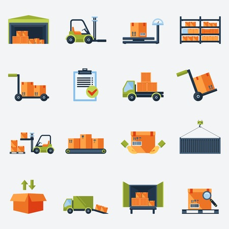 Warehouse transportation and delivery icons flat set isolated vector illustration Ilustração