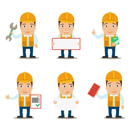 Builder construction worker and engineer male characters set isolated vector illustration Vector
