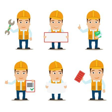 arquitecto caricatura: Personajes de los trabajadores de la construcci�n del constructor y el ingeniero macho conjunto aislado ilustraci�n vectorial Vectores