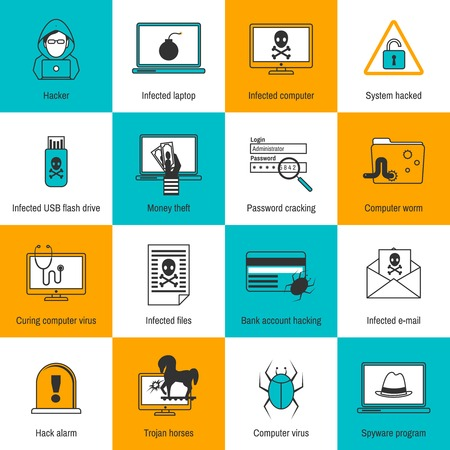 computer virus: Hacker infected laptop computer and flash drive flat line icons set isolated vector illustration