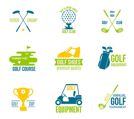 golf bag: Golf club championship and equipment label colored set isolated vector illustration Illustration