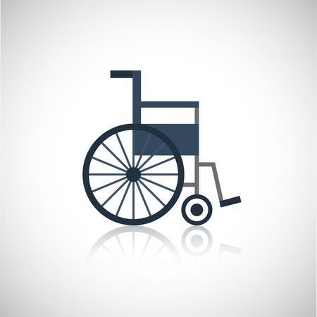 Rolstoel medische gepensioneerden zorg plat pictogram op een witte achtergrond vector illustratie