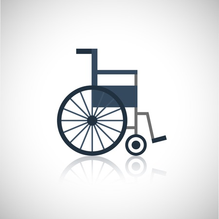 Wheel chair medical pensioners care flat icon isolated on white background vector illustration Çizim