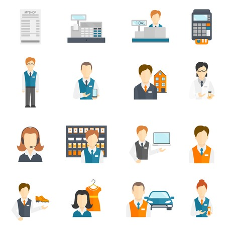 Salesman business figures icons flat set isolated vector illustration
