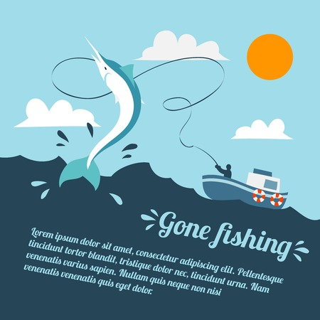 Fishing poster with boat and fishermen catching swordfish vector illustration Çizim