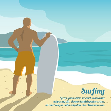 surfer vector: Surfing summer poster with male surfer and board on sandy beach vector illustration