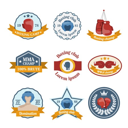 Box fight sport camp club championship emblems set isolated vector illustration Vector